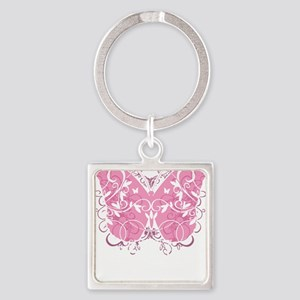 Breast-Cancer-Butterfly-blk Square Keychain