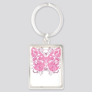 Breast-Cancer-Butterfly-blk Portrait Keychain