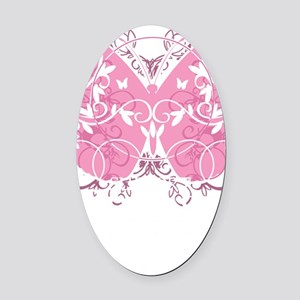 Breast-Cancer-Butterfly-blk Oval Car Magnet