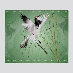 One Crane In Bamboo-Yardsign Throw Blanket