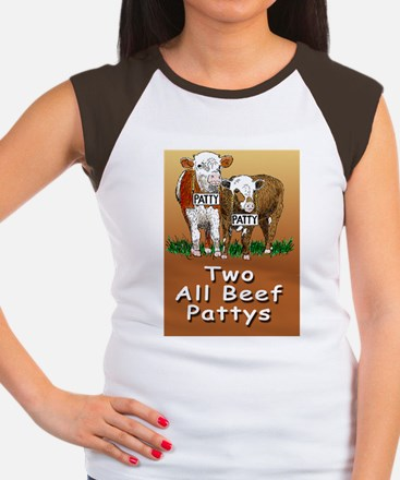 TWO ALL BEEF PATTYS gre Women's Cap Sleeve T-Shirt