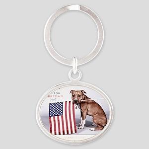 saving_americas_dog_buddies_b Oval Keychain
