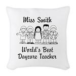 Custom Daycare Teacher Woven Throw Pillow