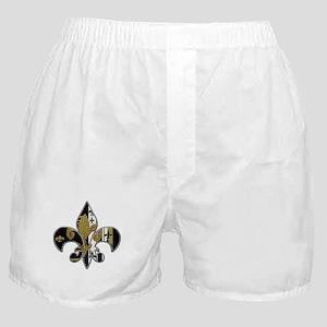 Fleur de lis bling black and gold Boxer Shorts