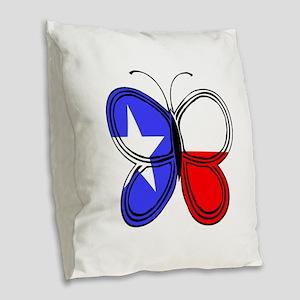 Texas Flag Butterfly Burlap Throw Pillow