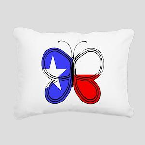 Texas Flag Butterfly Rectangular Canvas Pillow