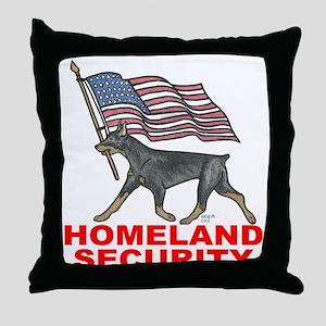 DOBERMAN HOMELAND SECURITY Throw Pillow
