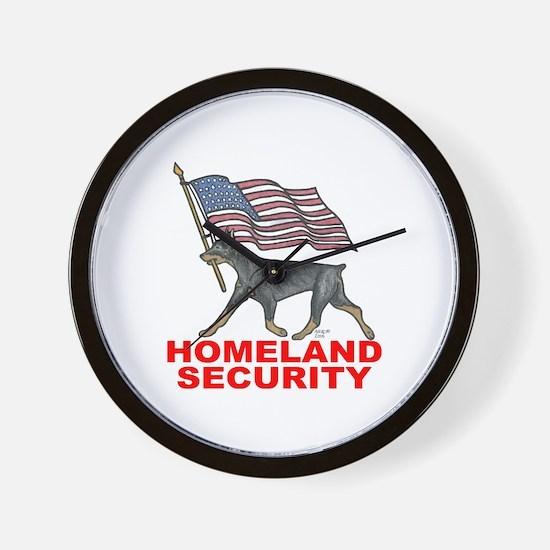 DOBERMAN HOMELAND SECURITY Wall Clock