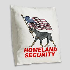 DOBERMAN HOMELAND SECURITY Burlap Throw Pillow
