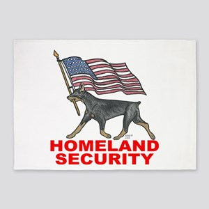 DOBERMAN HOMELAND SECURITY 5'X7'area Rug