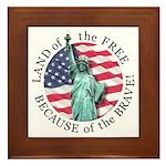 America Free and Brave Framed Tile