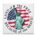 America Free and Brave Tile Coaster