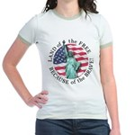 America Free and Brave Jr. Ringer T-Shirt