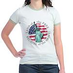 America Free and Brave Jr. Ringer T-Shirt