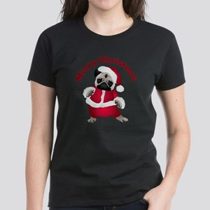 Christmas Santa Pug Women's Dark T-Shirt