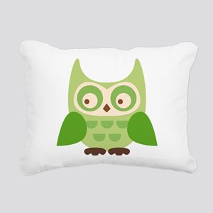 Green Owl Rectangular Canvas Pillow