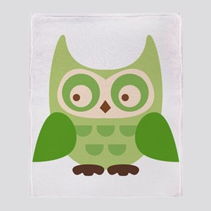 Green Owl Throw Blanket