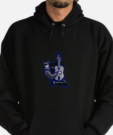 guitar player kneeling abstract blue grey Hoodie