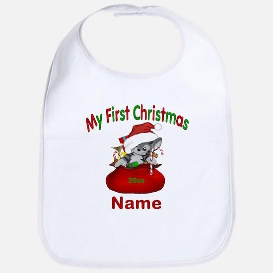 1st Christmas Kitty Personalized Bib