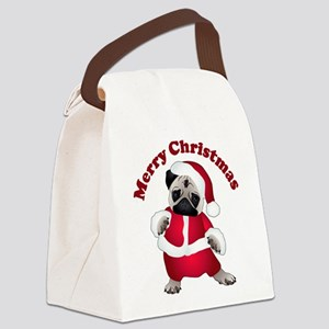 Christmas Santa Pug Canvas Lunch Bag