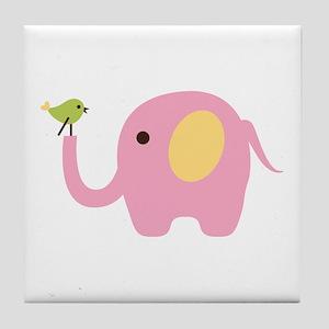 Elephant With Bird Tile Coaster