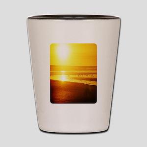 sunset and sea birds Shot Glass