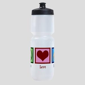 Peace Love Boxer Dog Sports Bottle