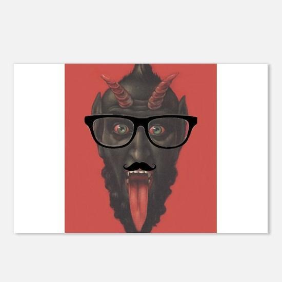 Altered Art Devil Satan Krampus With Hipster Glass