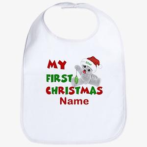 1st Christmas Bear Personalized Bib