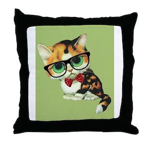 d38c4f2f19907 Hipster Cat Pillows - CafePress