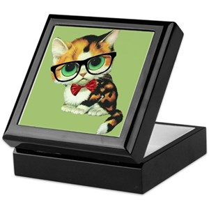 9bcd8734058b4 Hipster Cat Jewelry Boxes - CafePress