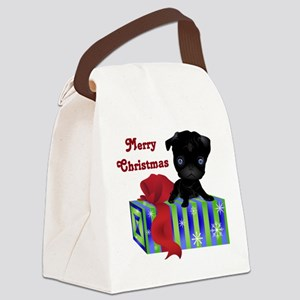 Black Pug with Christmas Gift Canvas Lunch Bag