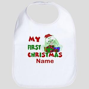 1st Christmas Bunny Personalized Bib