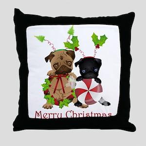 Black and Fawn Christmas Pugs Throw Pillow