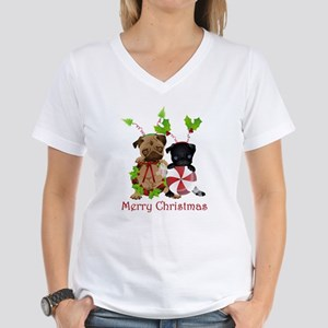 Black and Fawn Christmas Pugs Women's V-Neck T-Shi