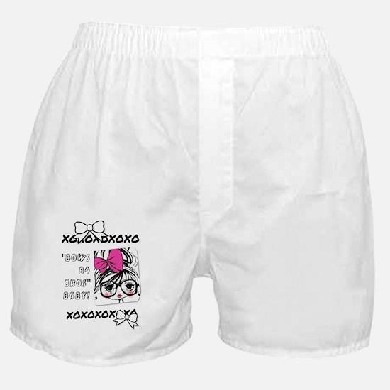Bows b4 bros baby on white cheerleade Boxer Shorts