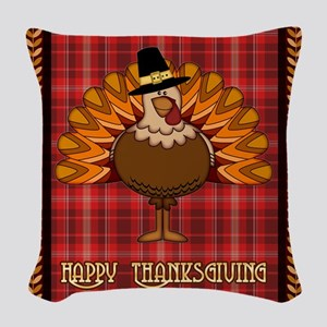 Happy Thanksgiving Turkey Woven Throw Pillow