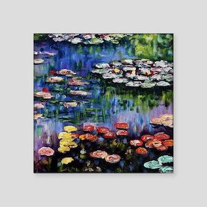 """Monet Waterlilies Square Sticker 3"""" x 3"""""""