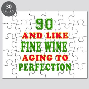 Funny 90 And Like Fine Wine Birthday Puzzle
