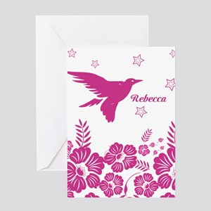 Personalized Oriental Inspired flying bird Greetin