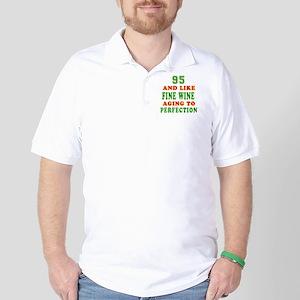 Funny 95 And Like Fine Wine Birthday Golf Shirt