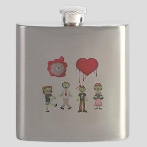 Eye Heart Zombies Flask