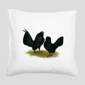 DAnvers Black Bantams Square Canvas Pillow
