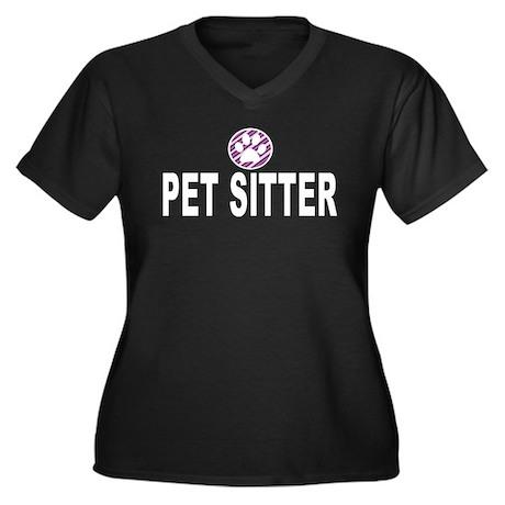 Pet Sitter Purple Circle Paw Plus Size T-Shirt