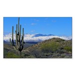 Snowy Desert With Saguaro Cactus Sticker