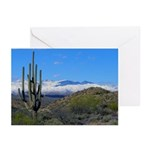 Snowy Desert With Saguaro Cactus Greeting Cards
