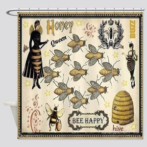 Vintage Honey Bee Shower Curtains