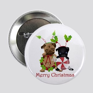 "Black and Fawn Christmas Pugs 2.25"" Button"