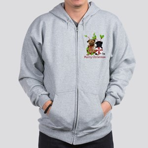 Black and Fawn Christmas Pugs Zip Hoodie