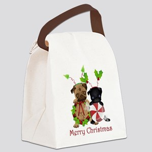 Black and Fawn Christmas Pugs Canvas Lunch Bag
